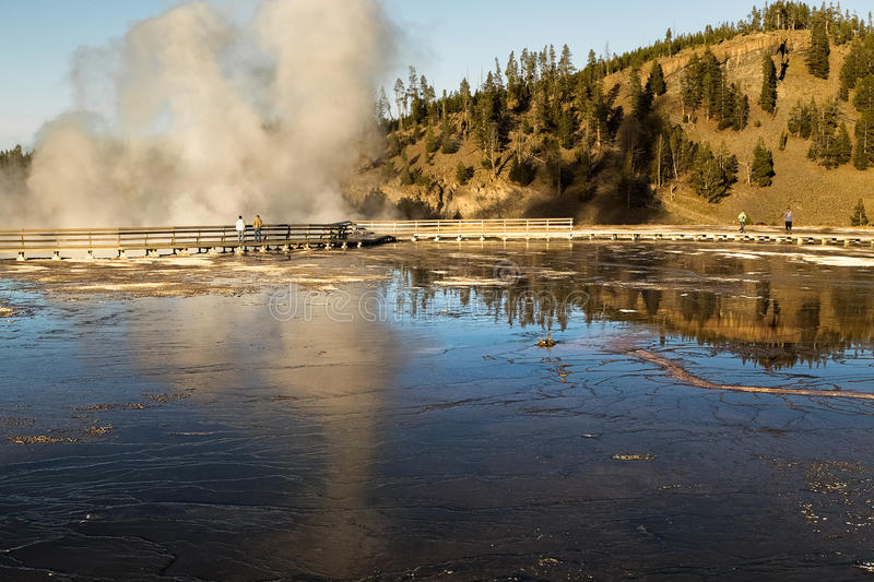 Grand Prismatic Spring at Yellowstone national park,WY,USA stock photo