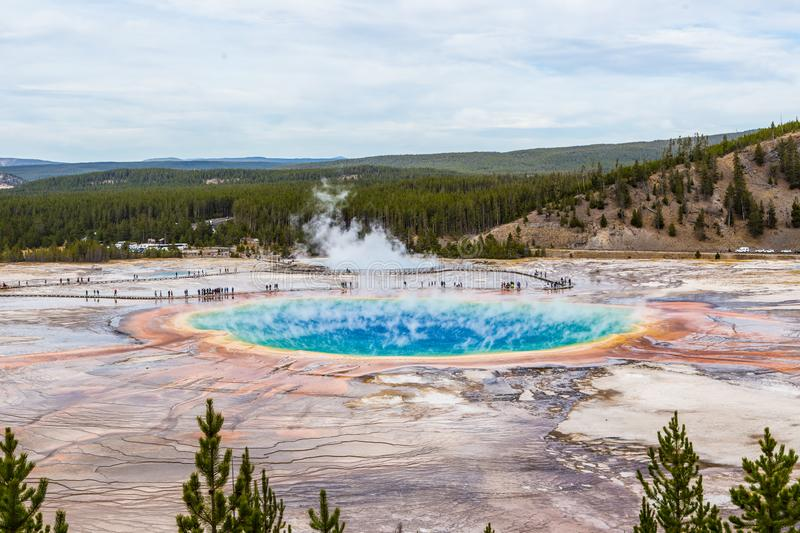 The Grand Prismatic Spring in Yellowstone National Park stock photography