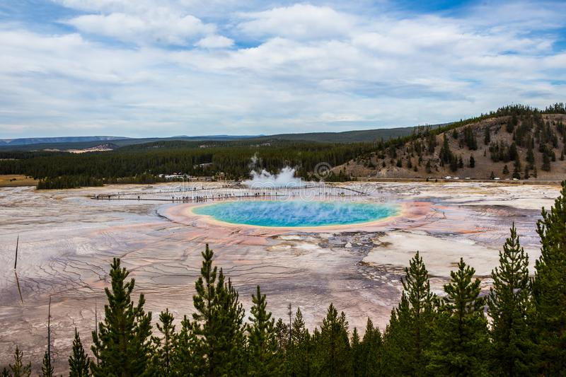 The Grand Prismatic Spring in Yellowstone National Park. Wyoming stock image