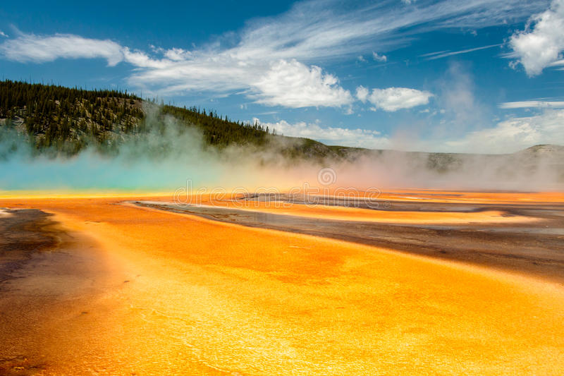 Grand Prismatic Spring, Yellowstone National Park. Grand Prismatic Spring in Yellowstone National Park is the biggest hot spring in the US and the third biggest stock image
