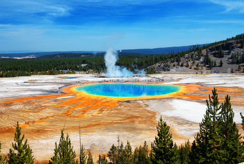 Grand Prismatic Springs Yellowstone National Park Wyoming stock image