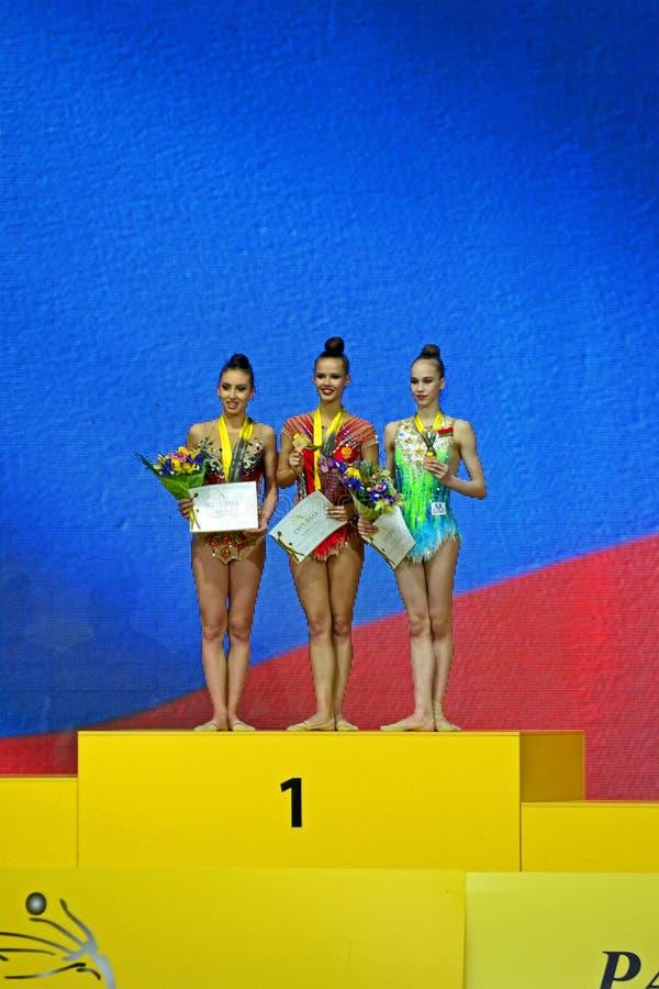 Grand Prix 2018, τελετή νικητών, Κίεβο, Ουκρανία φλυτζανιών Deriugina, στοκ φωτογραφία