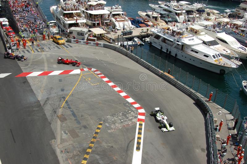 Grand Prix Monaco 2009. This picture has been taken from a balcony during the Grand Prix of Monaco won by Jenson Button (Brown) on May, 24th 2009 royalty free stock image