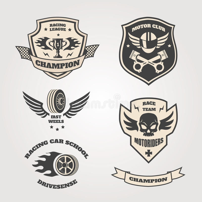 Download Grand Prix Racing  Motorclub  Emblems Set Isolated Stock Vector - Image: 52370004