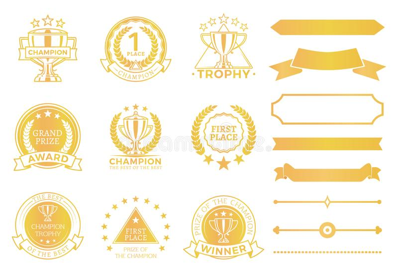 Grand Prize Award Certificates and Ribbons in Gold royalty free illustration