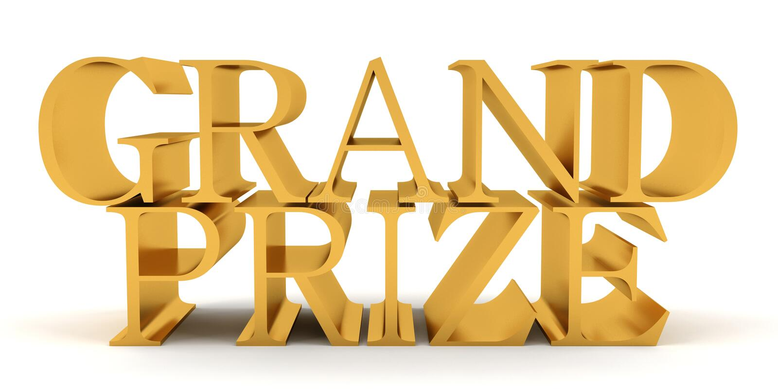 Grand prize golden text vector illustration