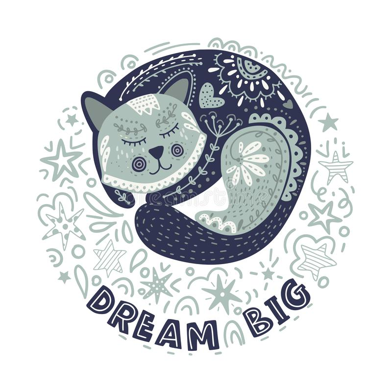 Grand rêveur Illustration de chat de vecteur illustration stock