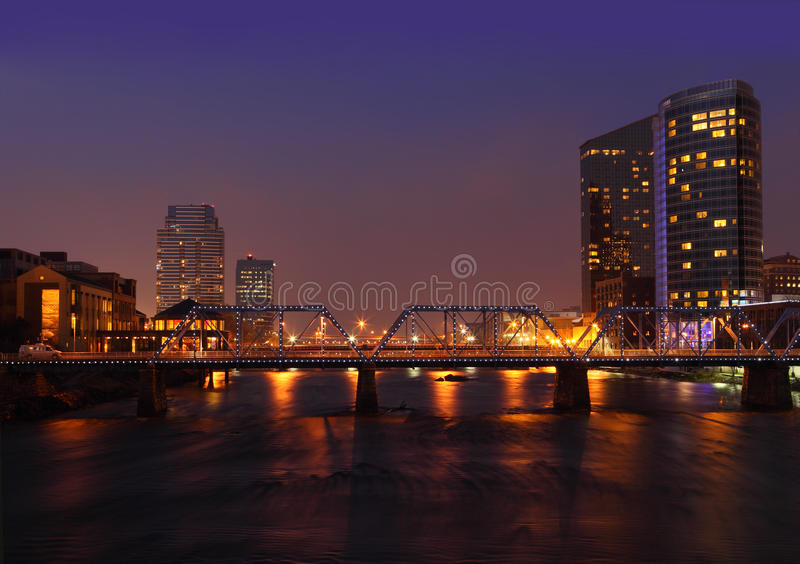 Grand Rapids City. At night in Michigan USA stock photo