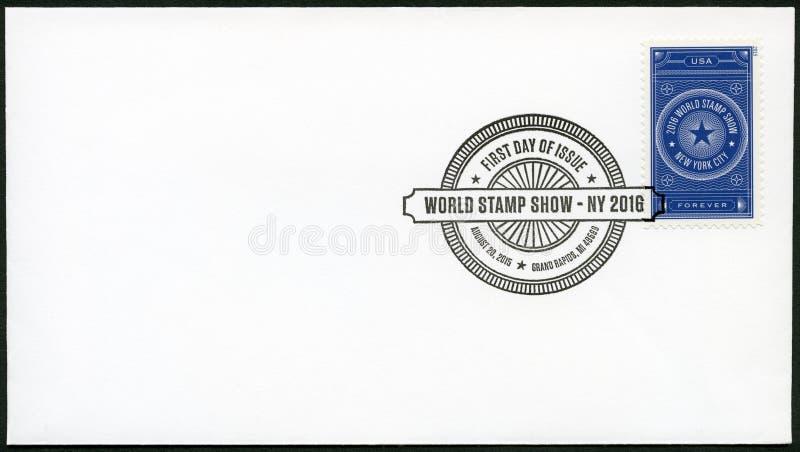 GRAND RAPIDS, ESTADOS UNIDOS DA AMÉRICA - 20 DE AGOSTO DE 2015: Um selo impresso nos EUA dedicou a mostra NY 2016 do selo do mund imagem de stock royalty free