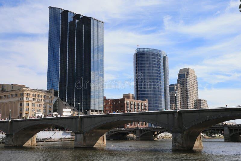 Grand Rapids i stadens centrum Michigan royaltyfria foton