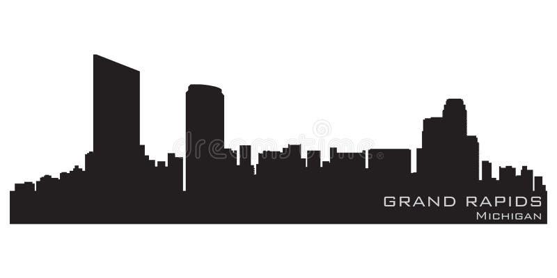 Grand Rapids Michigan city skyline. Detailed vector silhouette. Grand Rapids Michigan city skyline. Background vector illustration stock illustration