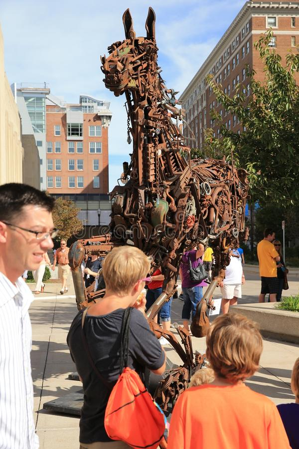 Grand Rapids, Michigan do centro, ArtPrize fotografia de stock