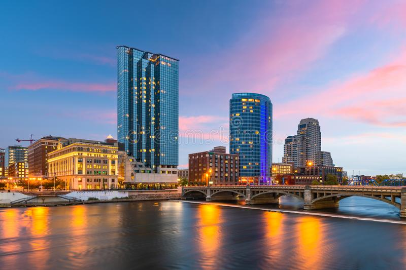 Grand Rapids, Michigan, USA Downtown Skyline. On the Grand River at dusk stock photos
