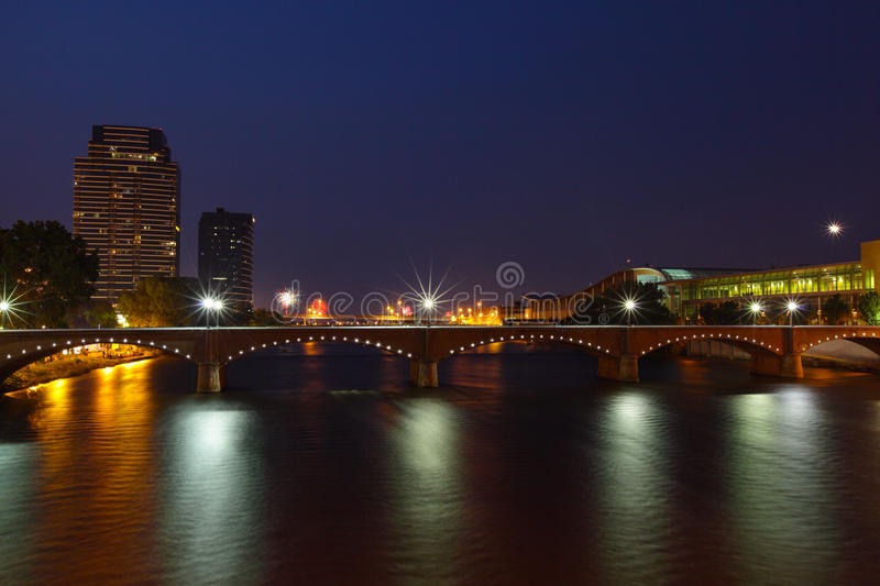 Grand Rapids at Night. Downtown Grand Rapids Michigan at night in the summer royalty free stock images