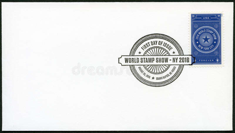 GRAND RAPIDS, UNITED STATES OF AMERICA - AUGUST 20, 2015: A stamp printed in USA dedicated World Stamp Show NY 2016 royalty free stock image