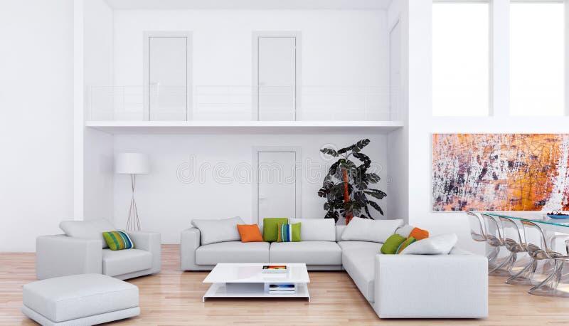 grand rendu lumineux moderne de luxe de l'illustration 3D de pièce d'intérieurs photographie stock libre de droits