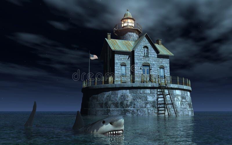 Grand requin blanc devant un phare en mer illustration stock