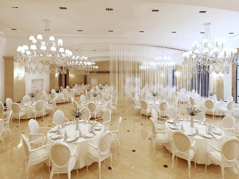 Grand restaurant and a ballroom in a luxury hotel. vector illustration