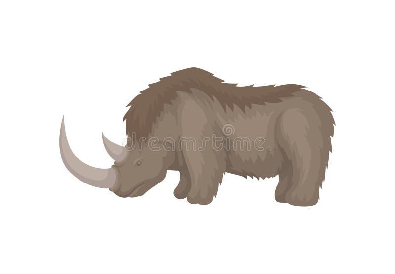 Grand rhinocéros laineux de période glaciaire Animal mammifère éteint avec deux klaxons Conception plate de vecteur illustration libre de droits