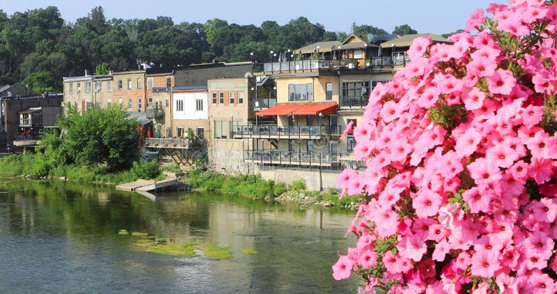 Grand River at Paris, Canada with flowers in front. The Grand River at Paris, Canada with flowers in front stock photo