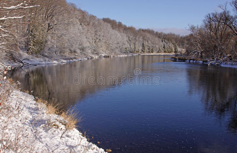 Grand River Snow. The Grand River with snow covering the banks. Shot in Kitchener, Ontario, Canada stock photo