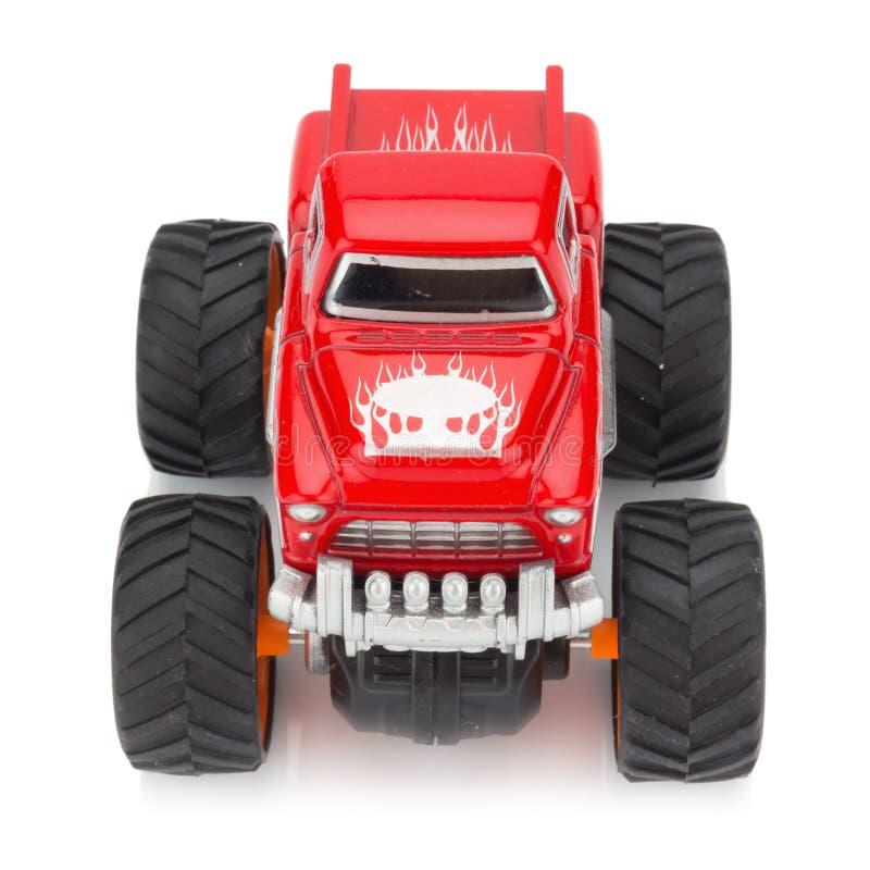 grand rouge de couleur de jouet de camion d'isolement sur le fond blanc photos libres de droits