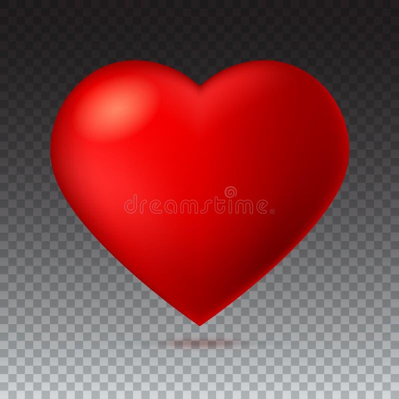grand rouge un coeur d 39 carlate sur le fond transparent avec l 39 ombre illustration de vecteur. Black Bedroom Furniture Sets. Home Design Ideas