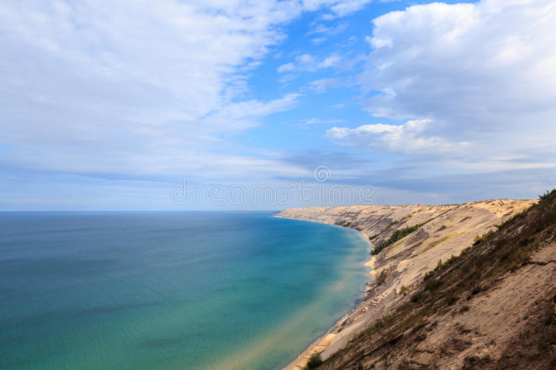 Grand Sable Dunes Overlook in Grand Marais Michigan. Grand Sable Dunes near Grand Marais, Michigan. The Log Slide Overlook is part of Pictured Rocks National stock images
