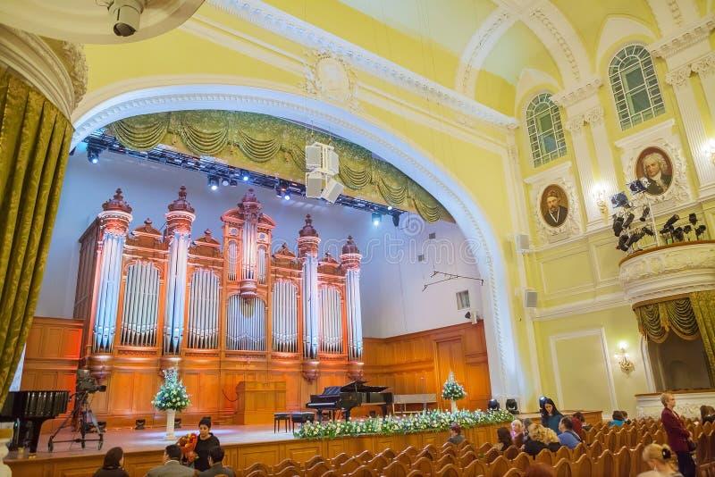 Grand salle de concert de conservatoire de Moscou photos libres de droits