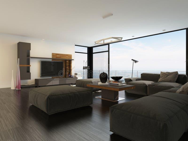 Grand salon spacieux avec des fenêtres de vue illustration libre de droits
