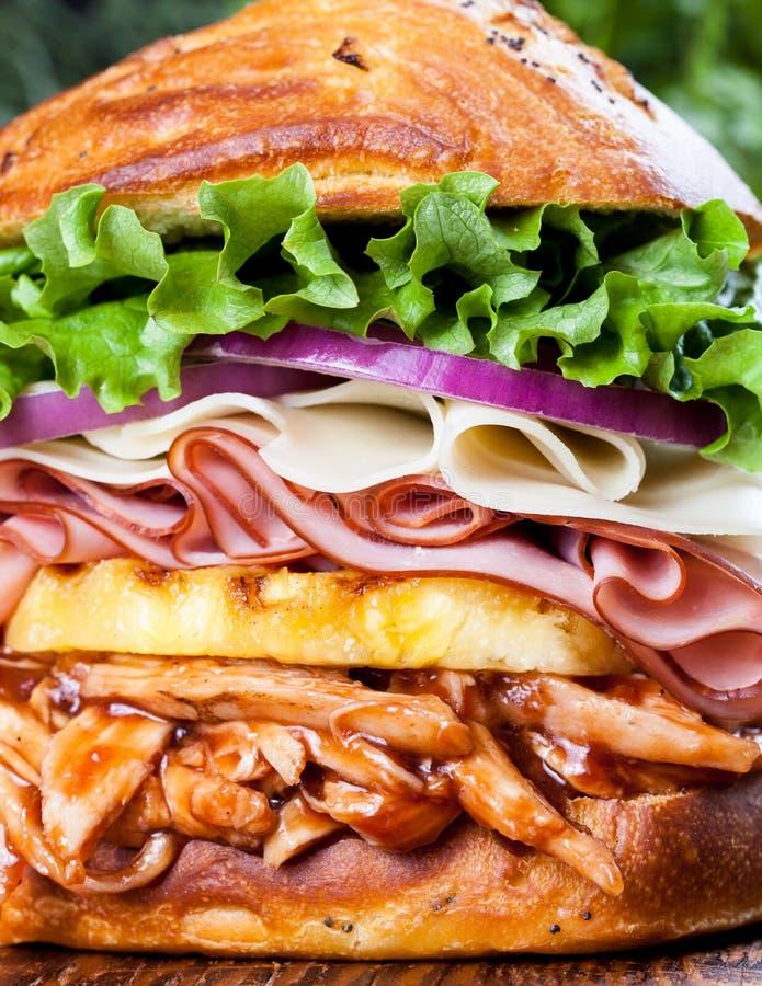 Grand sandwich au poulet hawaïen à barbecue image libre de droits