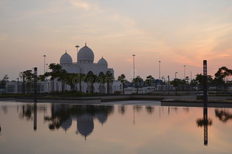 The grand Sheikh Zayed mosque in Abu Dhabi UAE. The grand Sheikh Zayed mosque domes and pillars in UAR Abu Dhabi royalty free stock photo