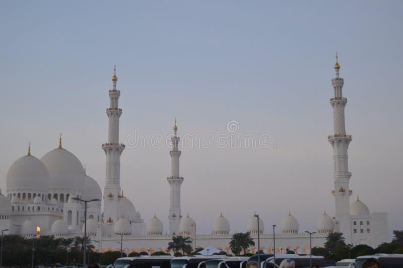 The grand Sheikh Zayed mosque in Abu Dhabi UAE. The grand Sheikh Zayed mosque domes and pillars in UAR Abu Dhabi stock photo