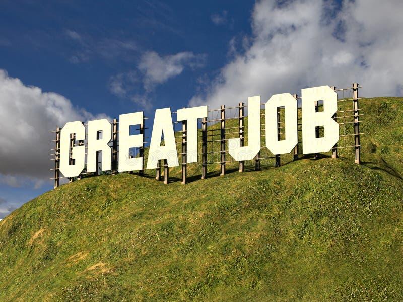 Grand signe avec le GRAND TRAVAIL de mots image libre de droits