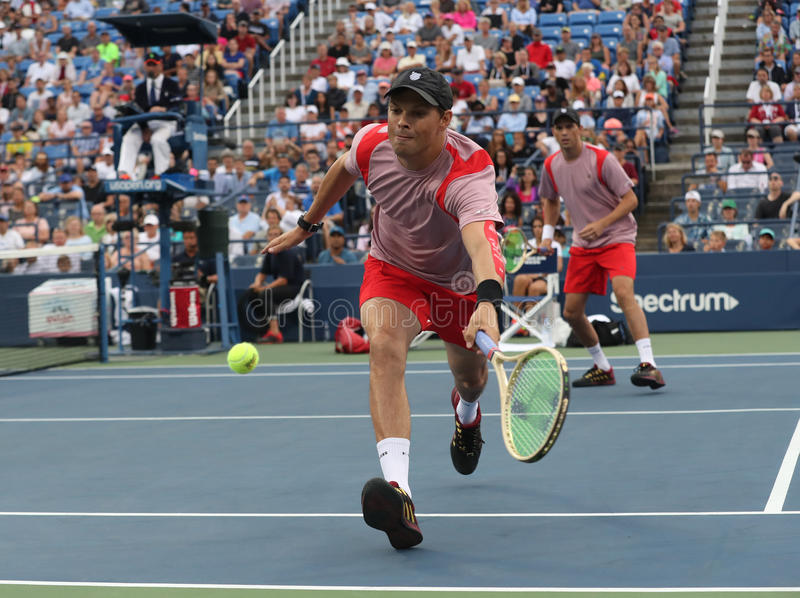 Grand Slam champion Bob Bryan in action during US Open 2016 quarterfinal doubles match. NEW YORK -SEPTEMBER 6, 2016: Grand Slam champion Bob Bryan in action royalty free stock photos