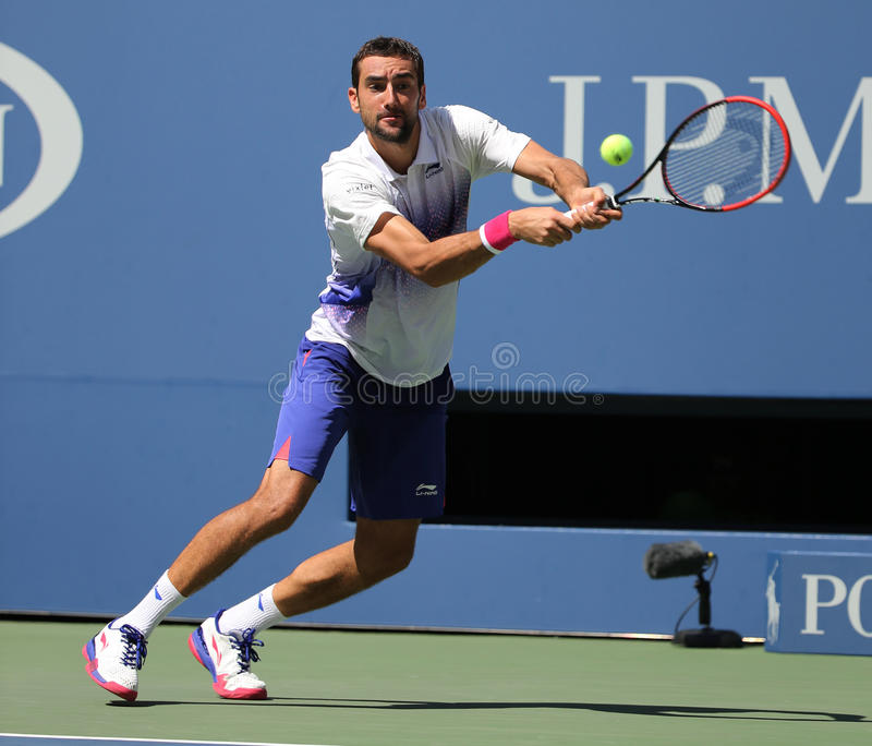 Grand Slam champion Marin Cilic of Croatia in action during his round 4 match at US Open 2015 at National Tennis Center. NEW YORK - SEPTEMBER 6, 2015: Grand Slam stock images