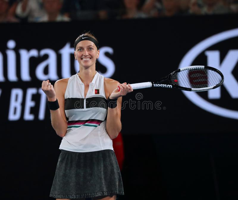 Grand Slam Champion Petra Kvitova of Czech Republic in action during her semifinal match at 2019 Australian Open in Melbourne Park royalty free stock image