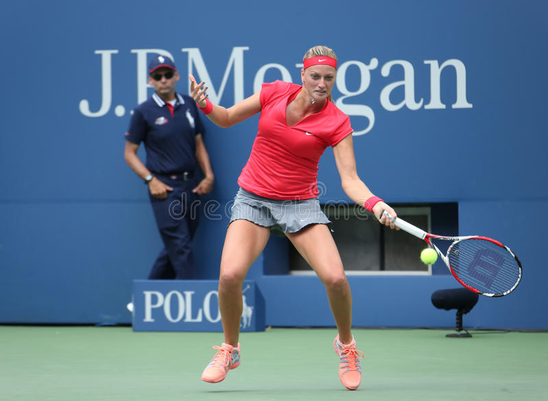 Download Grand Slam Champion Petra Kvitova During First Round Match At US Open 2013 Against Misaki Doi At Billie Jean King National Tennis Editorial Stock Image - Image: 36630369