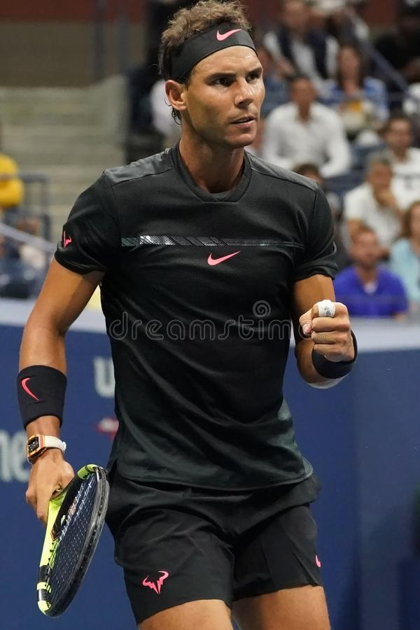 Grand Slam champion Rafael Nadal of Spain in action during his US Open 2017 round 2 match. NEW YORK - AUGUST 31, 2017: Grand Slam champion Rafael Nadal of Spain stock photos