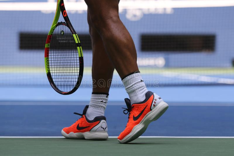 Grand Slam champion Rafael Nadal of Spain wears custom Nike tennis shoes during US Open 2018 royalty free stock image