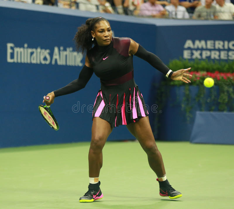 Grand Slam champion Serena Williams in action during first round match at US Open 2016. NEW YORK - AUGUST 30, 2016: Grand Slam champion Serena Williams in action royalty free stock photos