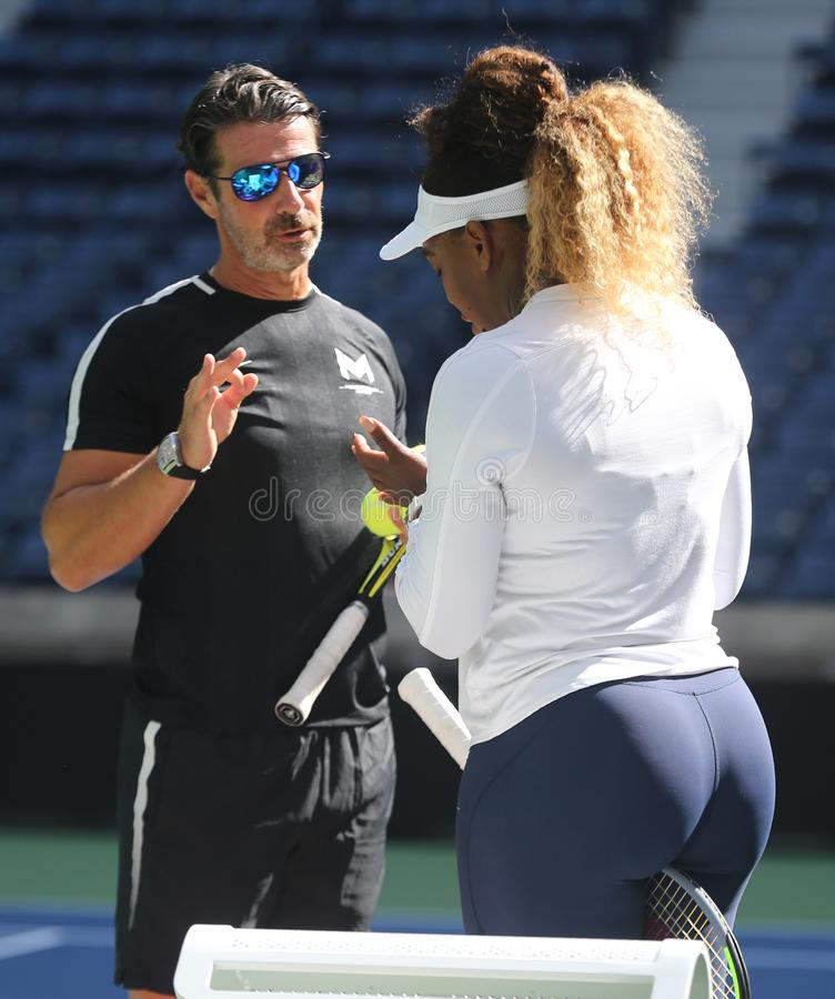 Grand Slam champion Serena Williams with her coach Patrick Mouratoglou during practice for the 2019 US Open stock photography