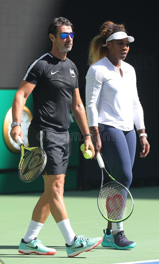 Grand Slam champion Serena Williams with her coach Patrick Mouratoglou during practice for the 2019 US Open royalty free stock photo