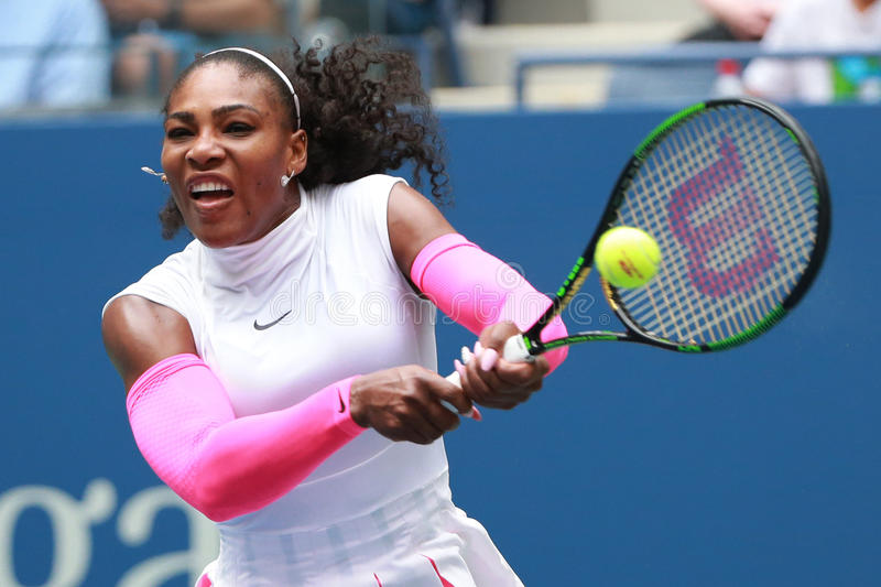 Grand Slam champion Serena Williams of United States in action during her round three match at US Open 2016. NEW YORK - SEPTEMBER 3, 2016: Grand Slam champion stock photo