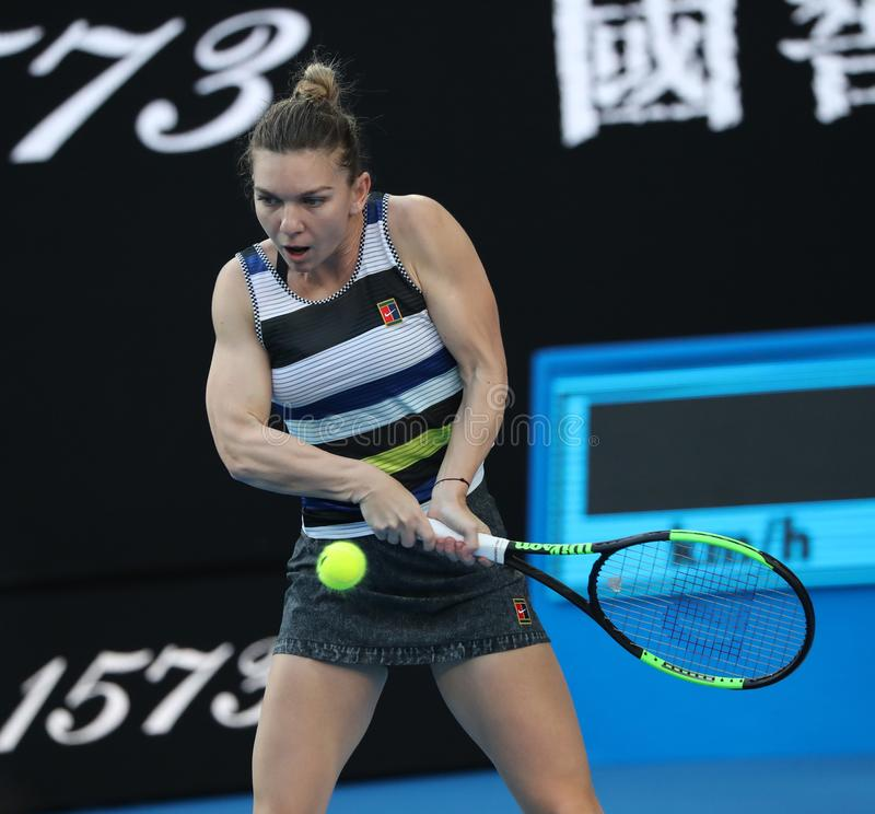 Grand Slam Champion Simona Halep of Romania in action during her round of 16 match at 2019 Australian Open in Melbourne Park. MELBOURNE, AUSTRALIA - JANUARY 21 stock photo