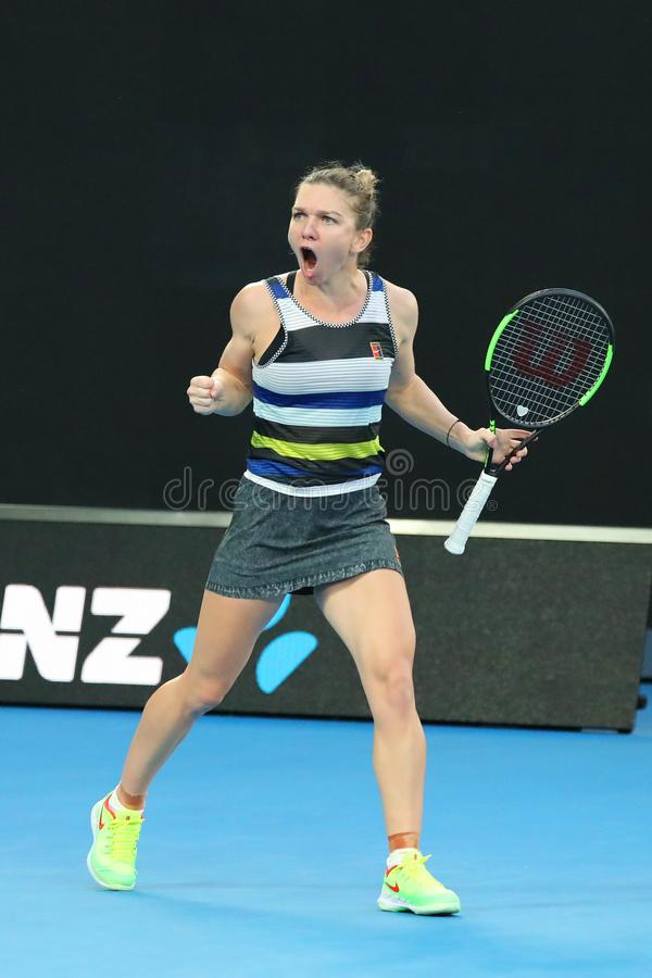 Grand Slam Champion Simona Halep of Romania in action during her round of 16 match at 2019 Australian Open in Melbourne Park. MELBOURNE, AUSTRALIA - JANUARY 21 royalty free stock images