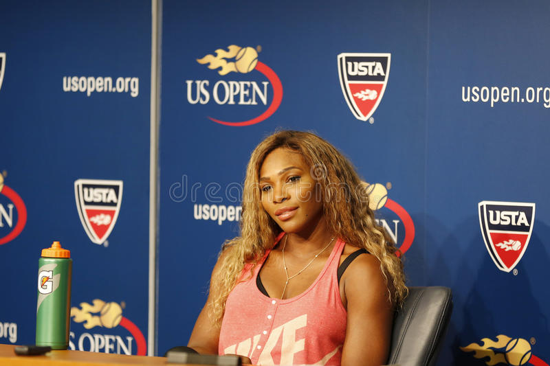 Grand Slam-Meister Serena Williams während der Pressekonferenz des US Open 2014 bei Billie Jean King National Tennis Center stockbild