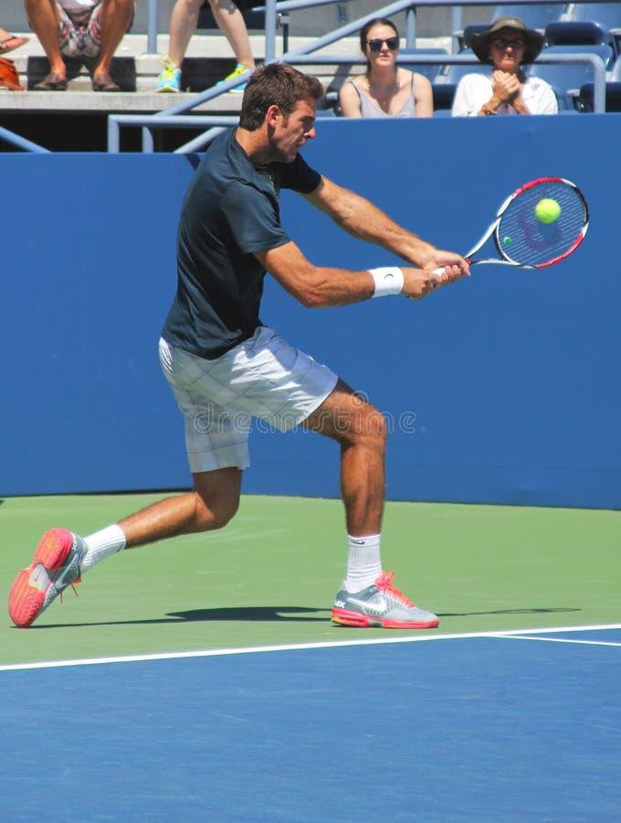 Grand Slam-Meister und Tennisprofi Juan Martin Del Potro übt für US Open 2013 lizenzfreies stockfoto