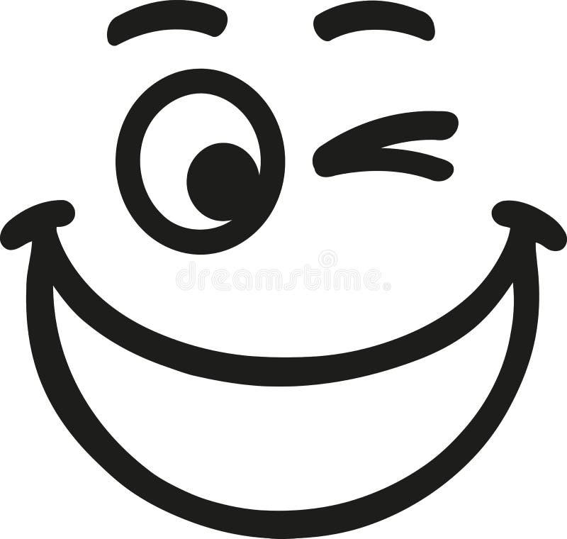 Grand smiley riant avec des sourcils illustration libre de droits
