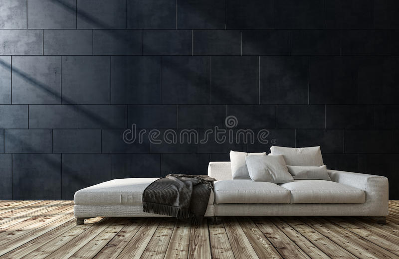 Grand sofa blanc générique dans un salon illustration stock